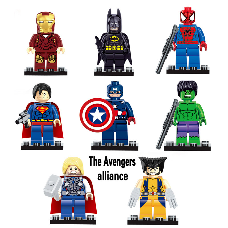 The avengers alliance 8pcs/lot marvel dc super heroes series minifigures action mini...