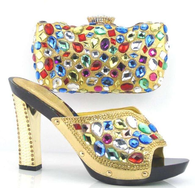 African shoe and bag set with TT02 Gold color With Peep toe Italian matching shoes and bags set for wedding women dress.