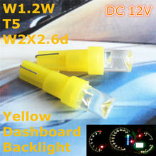 12V LED Yellow Color Car Bulb Lamp T5(5mm Flood Lamp)for W1.2W W2.3W W2X2.6d Dashboard Ashtray Signal Light(China)