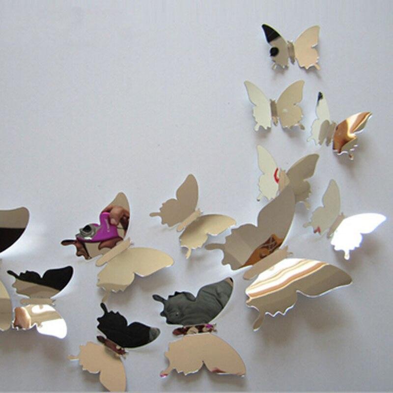 12 unids/set nuevo llega el silver mirror 3d pegatinas de pared de la mariposa d