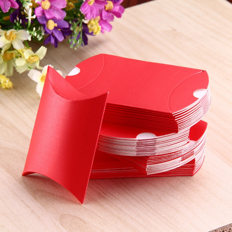 Free Shipping 50pcs/lot New Pillow Shape Box Candy Box Gift Box for Wedding Party Favor Decor Paperboard Kraft Wholesales