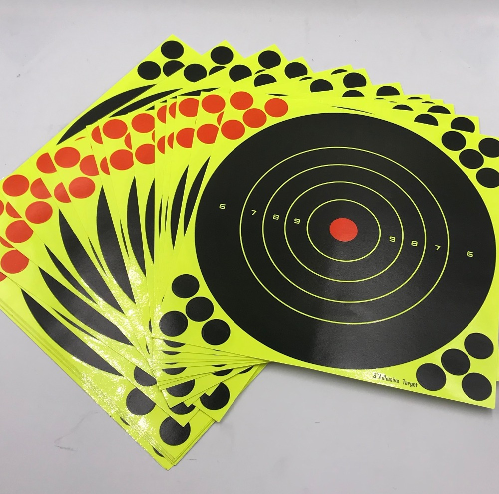 """Image 5 - 20/40PC 8"""" Splatter Self Adhesive Target Stickers Fluorescent Yellow use for AirSoft BB Guns Air Rifle Target Practice Shooting-in Paintball Accessories from Sports & Entertainment"""