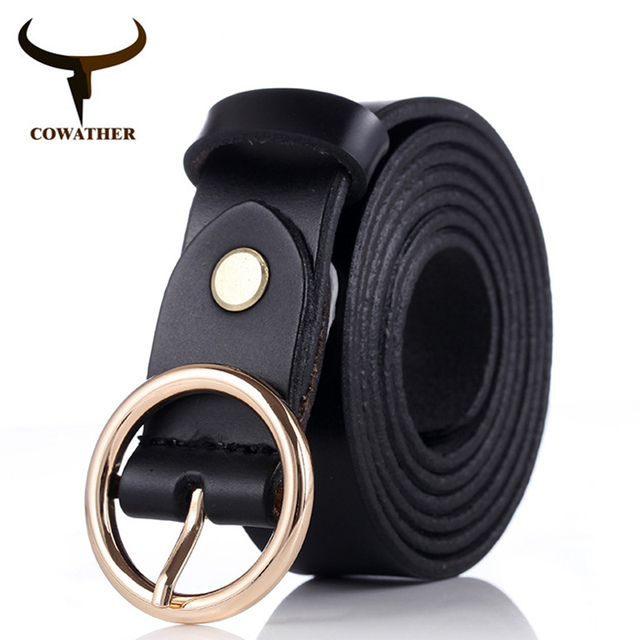 COWATHER women belts cow genuine leather good quality alloy pin buckle