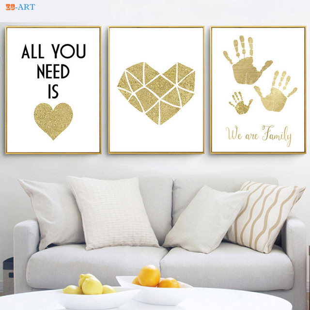 Superb Minimalist Canvas Painting Gold Glitter Palmprint Heart Poster Quotes  Prints Fashion Wall Art Kids Room Home Decor