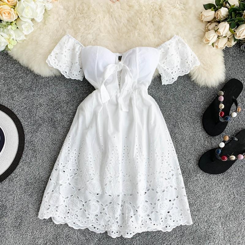 New Sexy Strapless White Dress V-neck Padded Stretchy Back Women Summer Off-shoulder Fairy Mini Vestidos G650