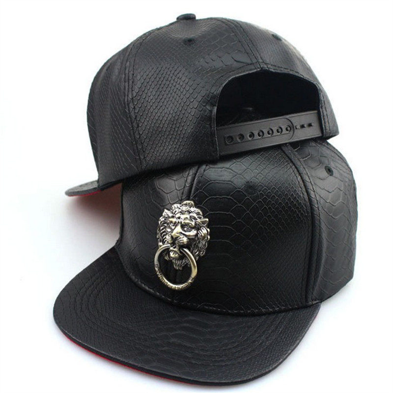 2016801  unisex young man  adult   Python snake  print leather Doorknob  Hip hop cap flat-brimmed hat  Snapback king rivet flat brimmed hat black golden