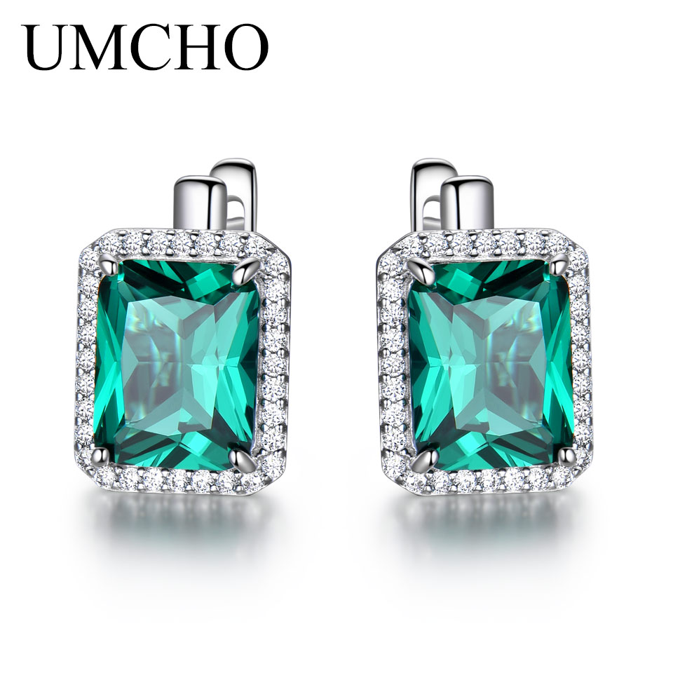 UMCHO Luxury Emerald Gemstone Clip On Earrings For Women Brand Fine Jewelry Solid 925 Sterling Silver Birthday Gift Fashion Gift