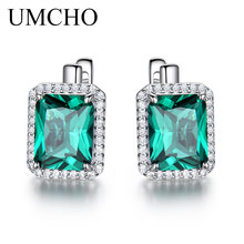 UMCHO Luxury Emerald Gemstone Clip On Earrings For Women Brand Fine Jewelry Solid 925 Sterling Silver Birthday Gift Fashion