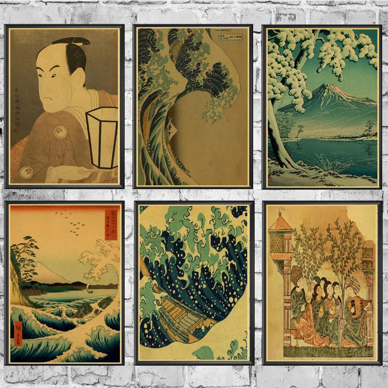 Vintage Poster Japanese Style Traditional  Wave Kanagawa Retro Poster Kraft Paper Wall  For Home/Room/Bar Decor Painting