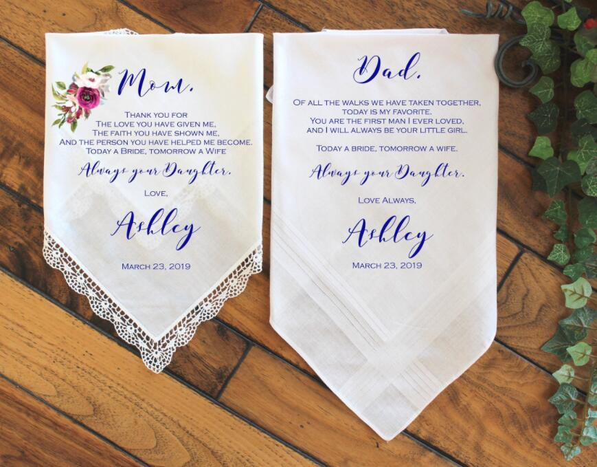 Set Of 2pcs Custom Wedding Gift For Parents Handkerchief For Mom And Dad, Gift Set, Thank You Gift, Personalized Gift With PHOTO