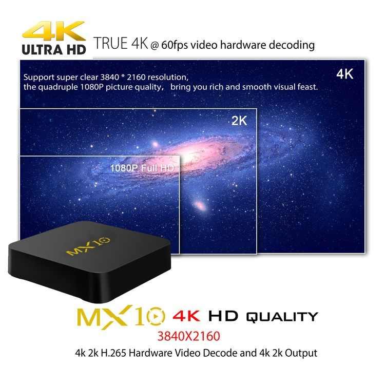 2019 Upgrade MX10 Android 9 0 Smart TV Box RK3328 Quad Core 4G Ram 64G Rom  USB 3 0 2 4G Wifi HDR 4K H 265 IPTV Smart Set-top BOX