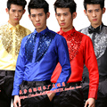 Red golden treasure blue-white sequined shirt costume shirt student dance clothing performance clothing