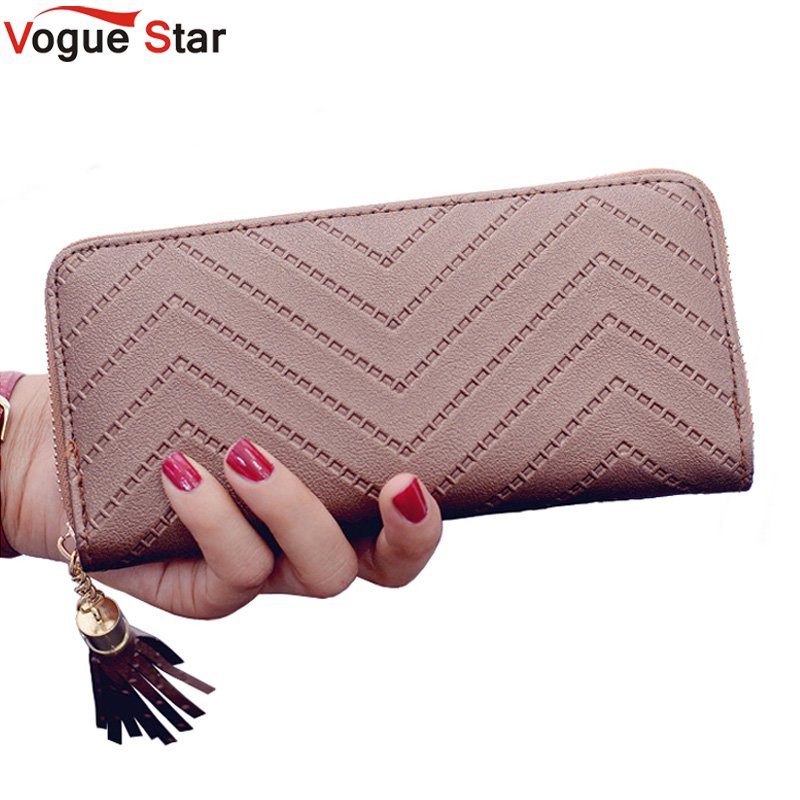 Vogue Star women wallet high quality leather dollar price tassel women purse card holder Carteira Feminina  LB231 women wallet 2017 high quality leather dollar price women purse card holder female purse with phone holder carteira feminina