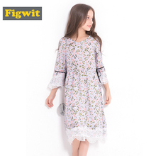 Figwit Girls Flower Autumn A Line Dress Teen Kids Children Clothing Lace Flare Sleeve Teenage for Casual Floral