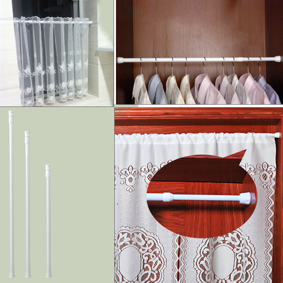 High Carbon Steel Adjustable Rod Tension Bathroom Curtain Extensible Rod Hanger ...