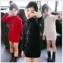 spring autumn kids black red knitted sweater girl turtle neck pink long sweater high collar puff sleeve girls winter sweaters turtle neck stripe rib panel knitted sweater