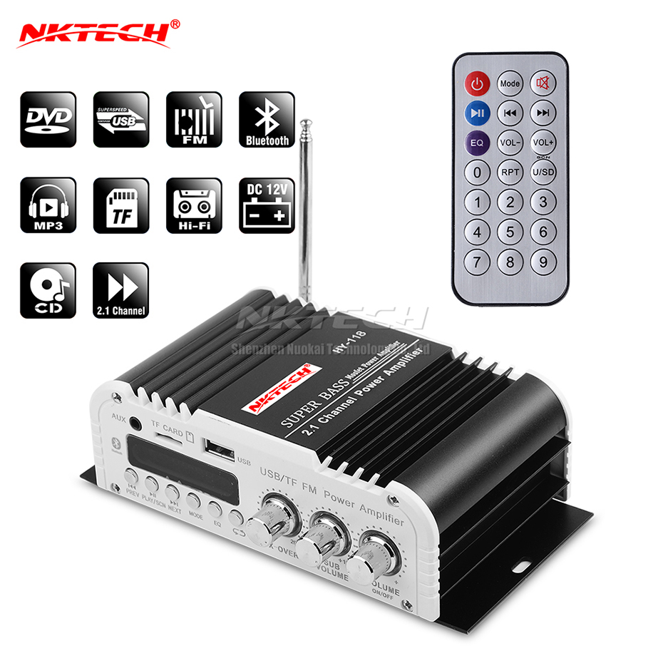 NKTECH HY-118 Car Power Amplifier Digital Audio Player Bluetooth 2.1 Channel 45W 2x 20W Hi-Fi Stereo Super BASS AMP USB TF CD FM