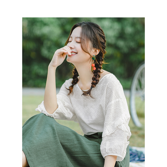 INMAN Summer O neck Literary Embroidery Loose Casual All Matched Half Sleeves Women Shirt