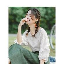 INMAN летняя свободная повседневная женская рубашка с круглым вырезом и вышивкой