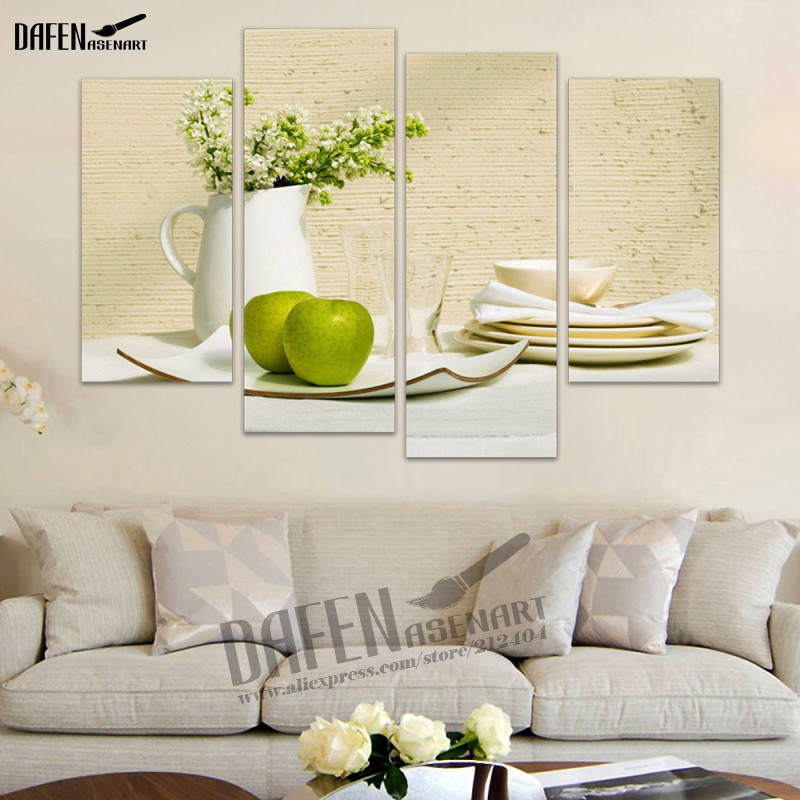 4 Panels Kitchen Fruit Decoration Canvas Abstract Painting On Wall Hanging  Combinative Picture For Kitchen Decoration