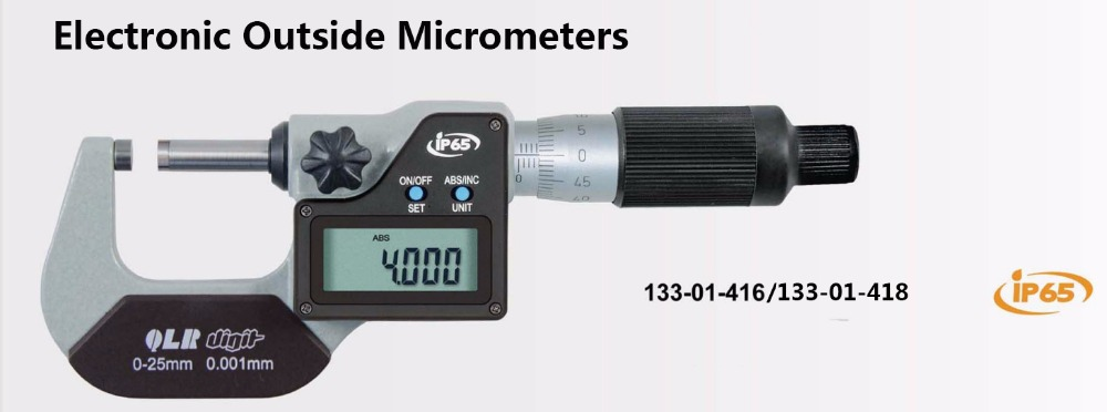 IP65 waterproof digital outside micrometer 0.5mm pitch screw for quick measurement 0-25mm 0.001mm electronic outside 133-01-416IP65 waterproof digital outside micrometer 0.5mm pitch screw for quick measurement 0-25mm 0.001mm electronic outside 133-01-416