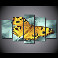 5 Piece Framed Printed Flying Yellow Butterfly Painting On Canvas Decor Art Print Picture Canvas Poster Printing Deco Chambre