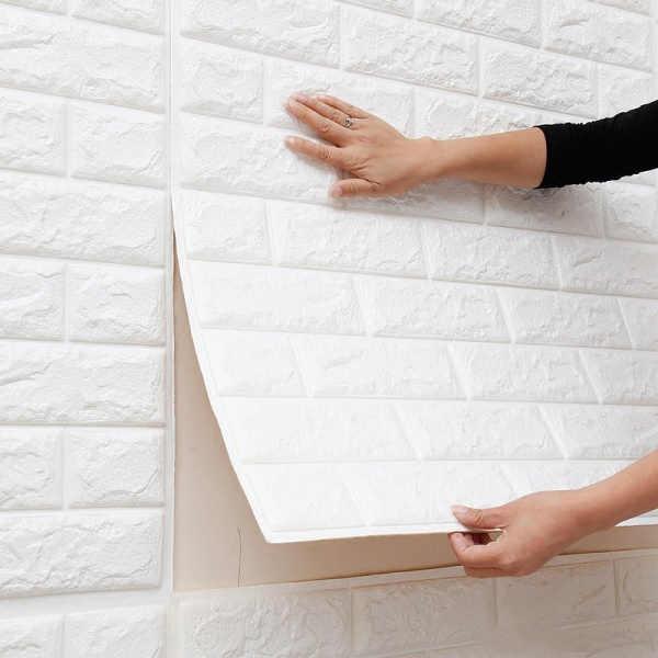 3D עצמי דבק עמיד למים טפטים 60*60*0.8 cm טלוויזיה רקע בריק קיר מדבקת סלון חדר שינה דקורטיבי מדבקות
