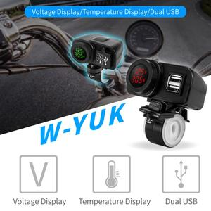 Image 5 - Motorcycle Dual Usb Charger Voltmeter Thermometer Voor Mobiele Telefoons/Tabletten/Gps Dubbele Usb Socket Thermometer, Voltmeter