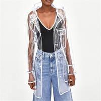 2018 New Long Trench Coat for Women PVC Transparent Oversize Hooded Coat New Outwear Loose Waterproof Raincoat Windbreaker D445