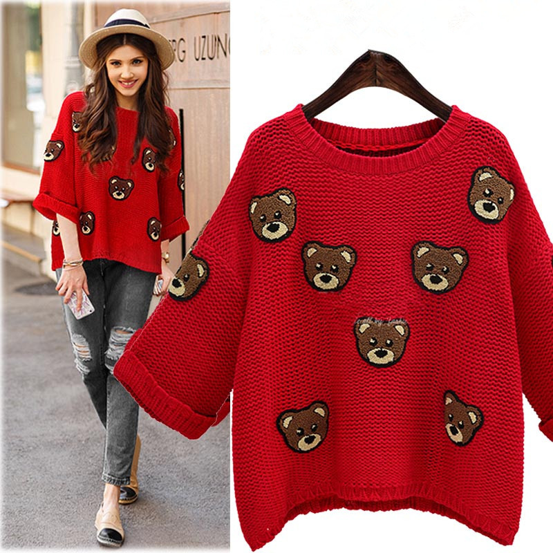 Large size ladies fat mm2016 loose new autumn winter was thin lovely cartoon sweater bottoming shirt