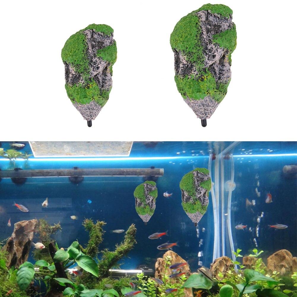 Artificial aquarium fish tank - Resin Artificial Floating Pumice Suspended Stone Aquarium Fish Tank Decoration Moss Flying Rock Space Aquatic Ornament
