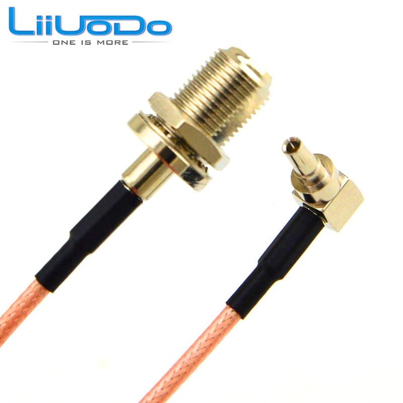 2 шт., RF разъем F К CRC9, кабель F гнездовой К CRC9, правый угол RG316 RG174, кабель Pigtail 15 см