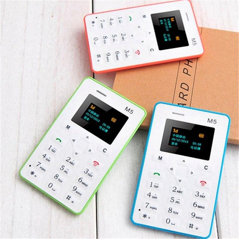 Aeku m5 gsm 2g teléfono móvil la tarjeta de 4.5mm ultra delgada bolsillo Mini Te