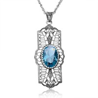 Classic 925 Sterling Silver Pendant Handmade Jewelry Necklaces For Women Stone Carving Aquamarine Fine Jewelry Yoga