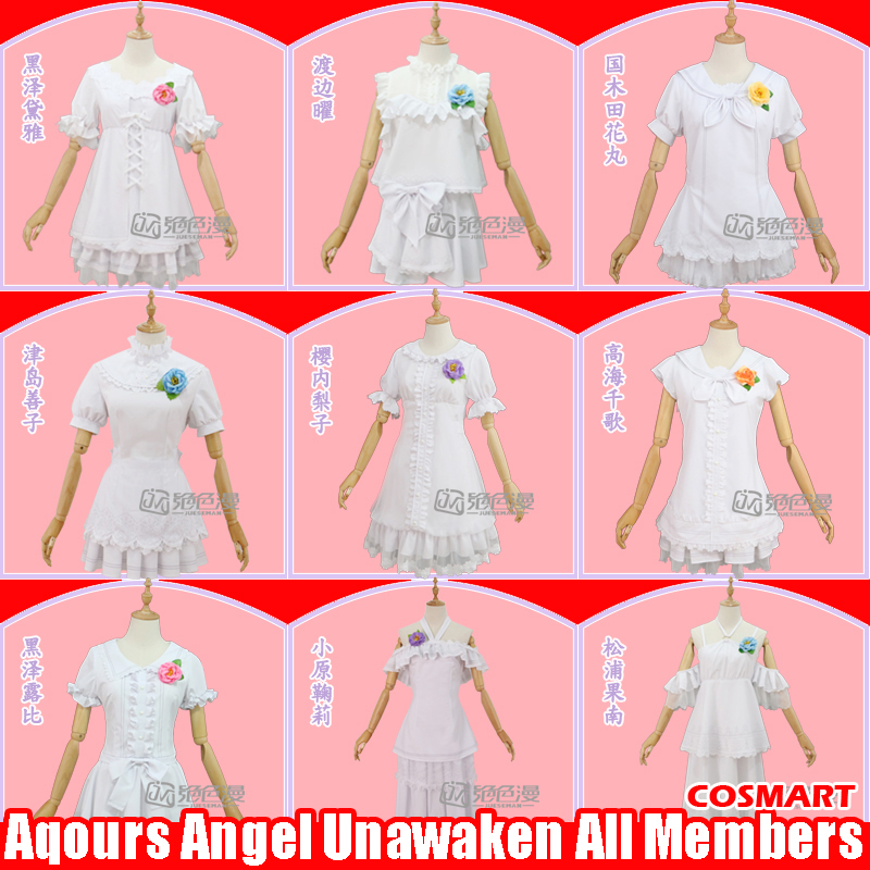 [Stock]Anime Love live!Sunshine! Aqours Angel Unawaken All Members White Lolita Dress Cosplay costume +Flowers Uniform free ship