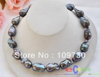 "Jewelry 00653 HUGE 17.5"" 22mm BLACK BAROQUE KESHI REBORN PEARL NECKLACE 925Sc"