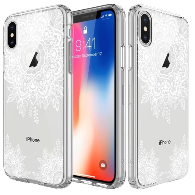For Iphone X Case Lk Shock Absorbing White Henna Mandala Floral