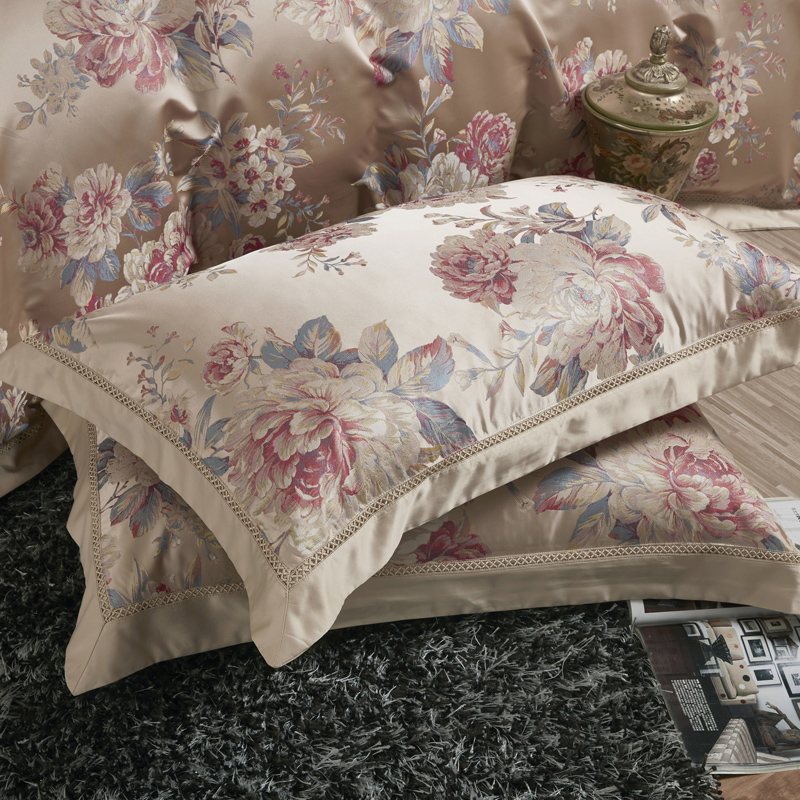 Pastoral Style Peony Pattern Queen King Size Beige Jacquard Bedding Set Sateen Cotton 1 Duvet Cover 1 Bed sheet 2 Pillow case in Bedding Sets from Home Garden
