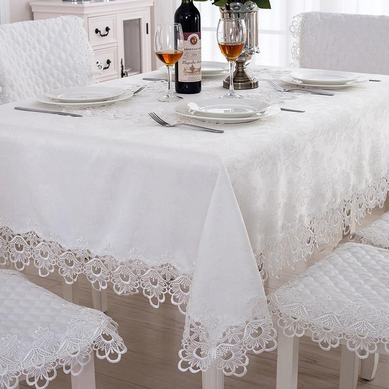 l gant 100 polyester brod nappe avec dentelle bord rond housse en tissu de table pour soir e. Black Bedroom Furniture Sets. Home Design Ideas