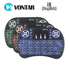 10 adet VONTAR Arka Işık i8 İngilizce 2.4 GHz Kablosuz Klavye Hava Fare Touchpad El Arkadan Aydınlatmalı android tv kutusu Mini PC