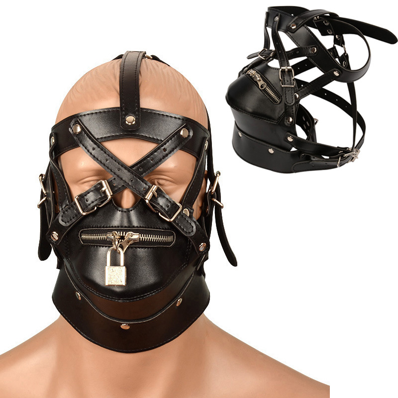 Sexy Leather Mask Bdsm Hood Bondage Restraint Hoods Zipper Sex Face Eye Mask Adult Games Male Fetish Erotic Sex Toys For Men Gay