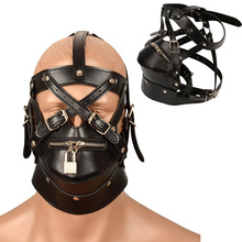 Sexy Leather Mask Bdsm Hood Bondage Restraint Hoods Zipper Sex Face Eye Mask Adu