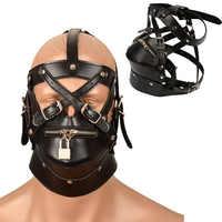 Sexy Leder Maske Bdsm Haube Bondage Zurückhaltung Hauben Zipper Sex Gesicht Auge Maske Erwachsene Spiele Männlichen Fetisch Erotische Sex Spielzeug für Männer Homosexuell
