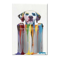 100% Hand Painted Abstract Paint bucket Dog Oil Painting On Canvas Lovely Paint bucket Wall Picture For Living Room Home Decor