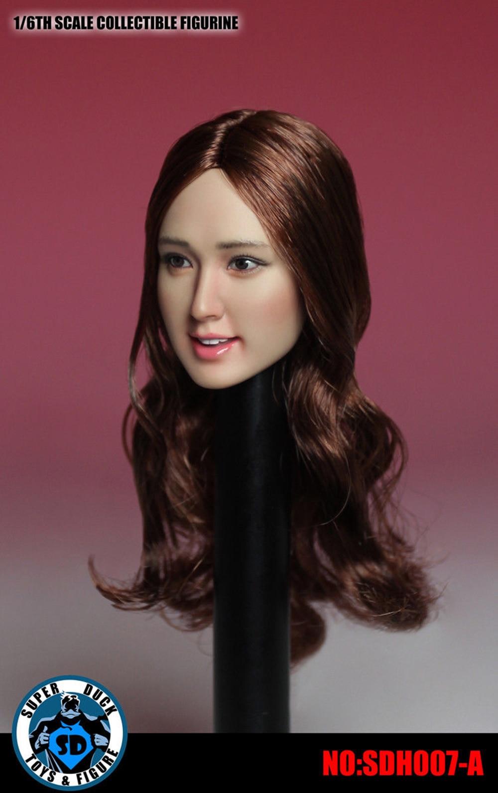 """Super Duck SDH007-B 1//6th Asia Black Short Hair Head Model For 12/"""" Woman Body"""