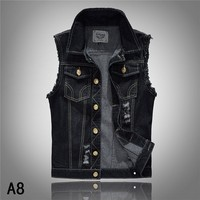 2017 Spring And Autumn Mens Black Hole Denim Vests Single Breasted Male S Casual Plus Size Jean Waistcoats Cowboy Coat Vest K111