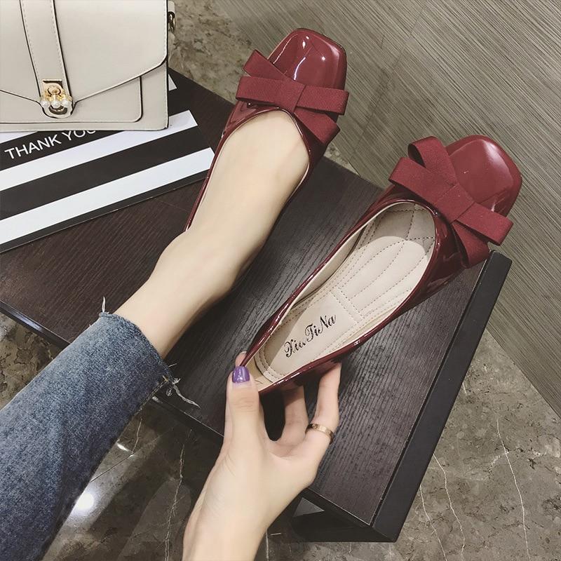 Automne Solide Décoratif Sauvage Casual vin Chaussures Femmes Couleur Arc Nouveau Chaussures Simple Style 2018 Rétro Rouge Confortable Rose Plat FfdwHqFx