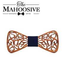 Mahoosion Новые цветочные деревянные бабочки-галстуки для мужчин бабочка полые бабочки Свадебный костюм деревянная Бабочка рубашка krawatte бабочка тонкий галстук