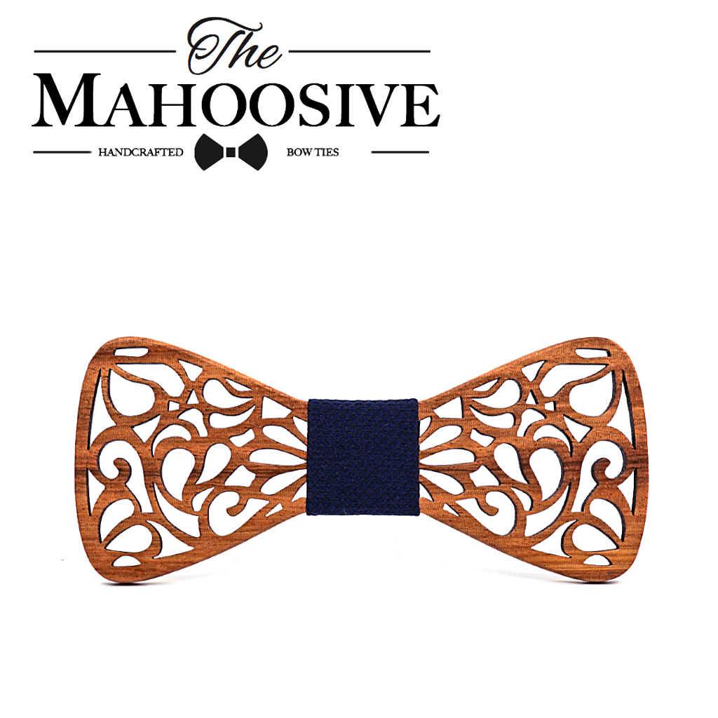 Mahoosive 新花柄の木製の弓シルクポリエステルネクタイボウタイ中空蝶結婚式のスーツ木製ボウタイシャツ krawatte Bowknots スリムネクタイ