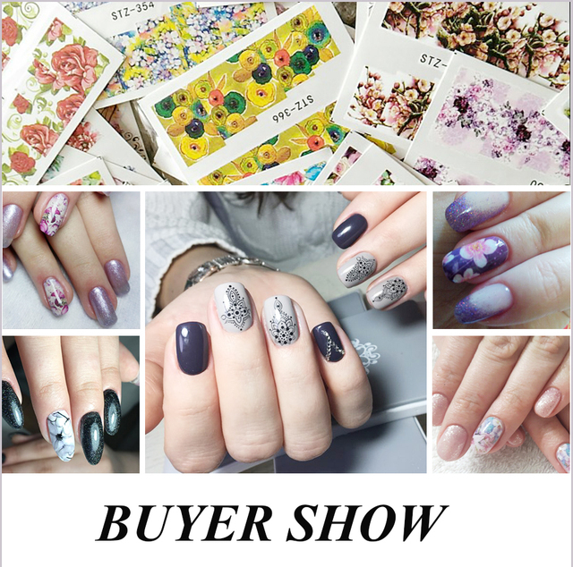 48pcs Mixed 48 Designs Flower Nail Art Full Wraps Nail Foils Nail Sticker Decals Water Transfer Manicure Tips STZ352-391